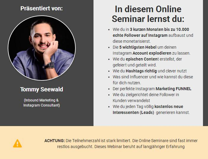 Insta Masterclass - 10.000 echte Instagram Follower - Erfahrungen Review Webinar